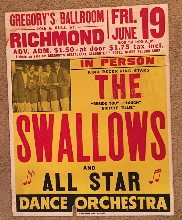 The Swallows 1953 Boxing-Style Jumbo Globe Concert Poster Richmond Virginia