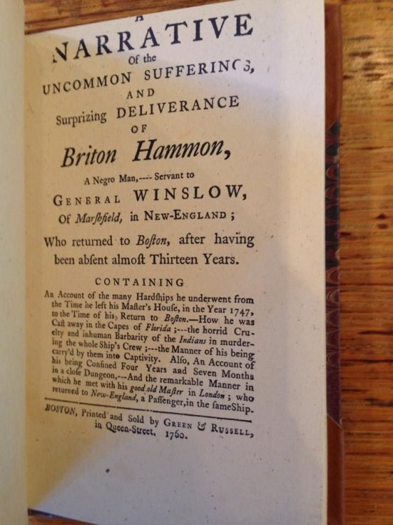 Captivity of Briton Hammon A Narrative of the Uncommon Sufferings and Surprizing Deliverance of Briton Hammon A Negro Man Treasures of the Library of Congress