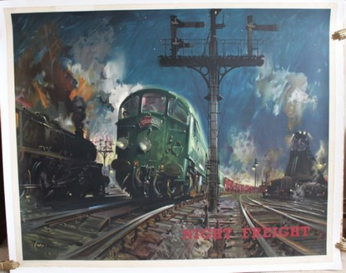 Night Freight. ORIGINAL FULL SIZE BRITISH RAILWAYS POSTER FOR THE LONDON MIDLAND REGION.