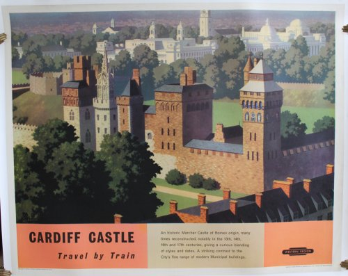 Cardiff Castle Travel by Train. ORIGINAL FULL SIZE BRITISH RAILWAYS POSTER.