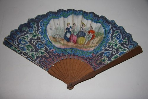 Fan with Hand-Colored Bucolic Lithograph of Three Pretty Ladies Flirting with a Young Man
