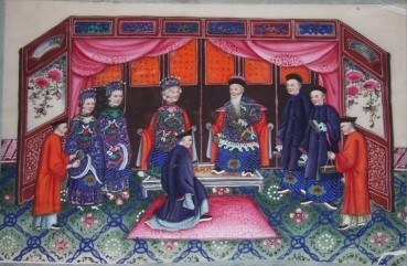 Ten Chinese Gouache Paintings on Pith Paper of Ceremonial Pedagogical and Domestic Scenes