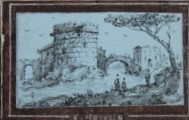Grand Tour Souvenir Roma. 18th Century Miniature Leporello with Ten Views of Rome mostly of ruins