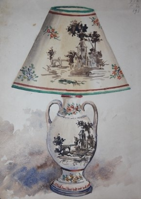 Salesman's Sample Album of Lamp and Lampshade Designs, with 25 Original Watercolors, and Many Mounted Photographs of the Designs