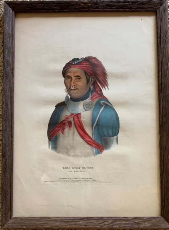 Tens-Kwau-Ta-Wawsk, The Prophet. Original hand-colored lithographic plate. From the painting by Charles Bird King.