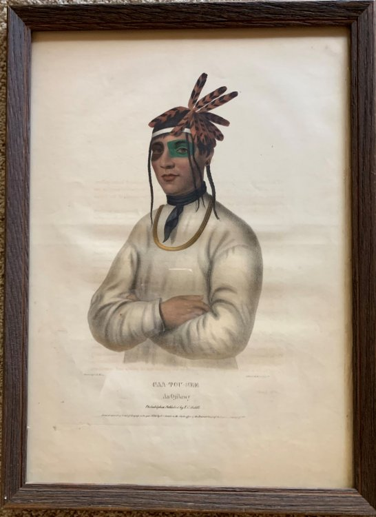Caa-Tou-See an Ojibray. Ojibwe Original hand-colored lithographic plate highlighted with gum arabic. From the painting by Charles Bird King.