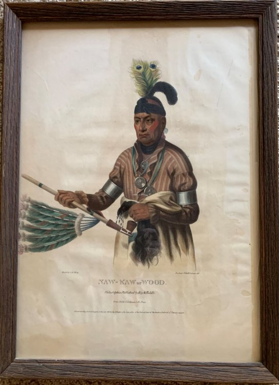 Naw-Kaw, or Wood. Original hand-colored lithographic plate, highlighted with gum arabic. From the painting by James Otto Lewis, copied by Charles Bird King.