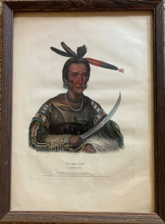 To-Ka-Con a Sioux Chief. Original hand-colored lithographic plate highlighted with gum arabic. From the painting by George Cook.