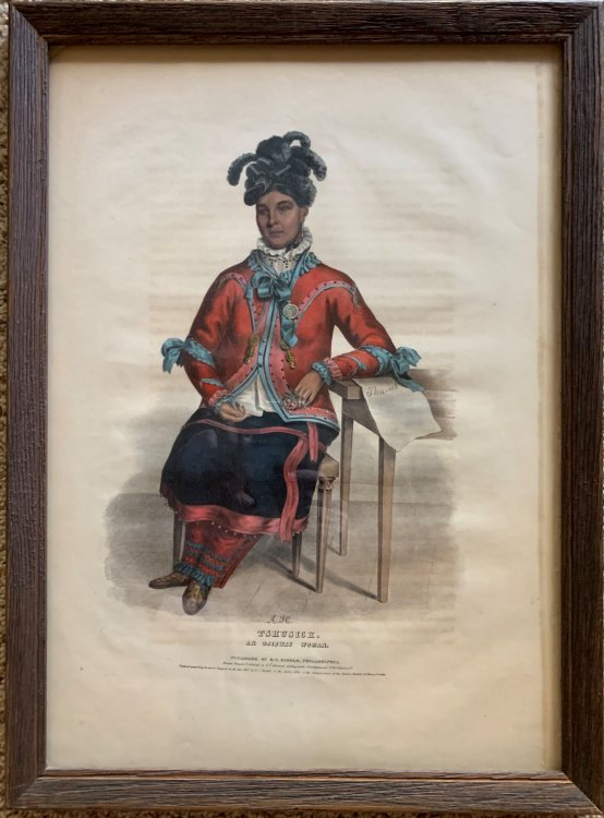 Tshusick, an Ojibway Woman. Original hand-colored lithographic plate. From the painting by Charles Bird King.