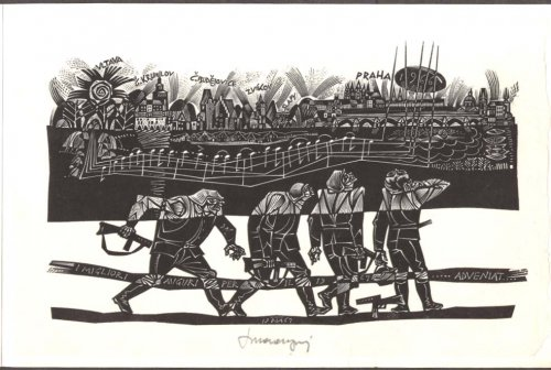 Tranquillo Marangoni SIGNED wood engraving Prague 1966 printed 1967