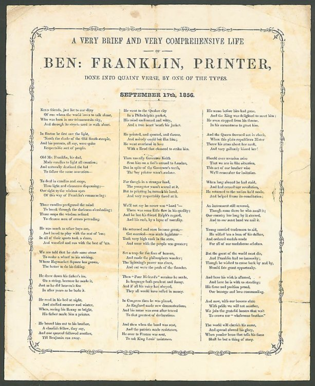 Life Ben Franklin Printer in Quaint Verse Sept 17 1856