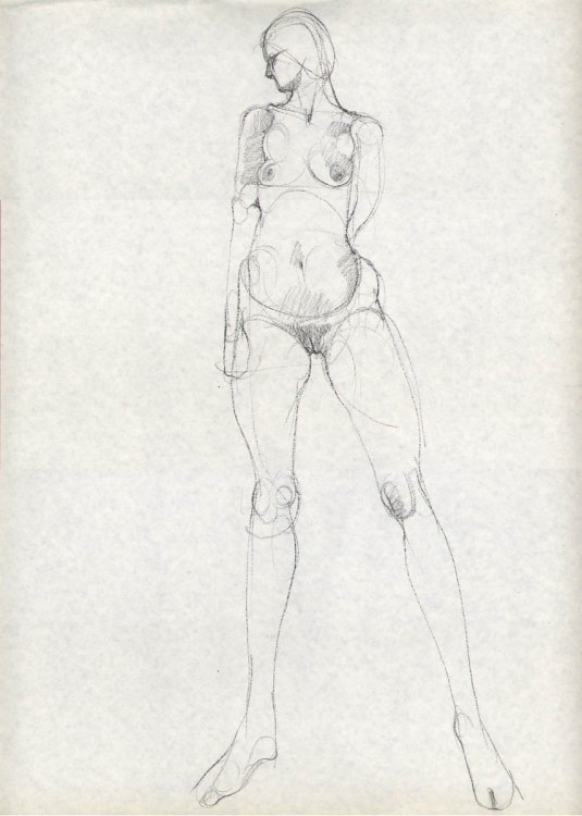 Standing female nude charcoal drawing Gene Szafran 60s
