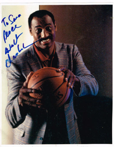 wilt chamberlain signed 8x10 colored photo.