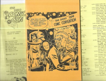 San Diego Comic convention Program 1974 with Schedule of events.