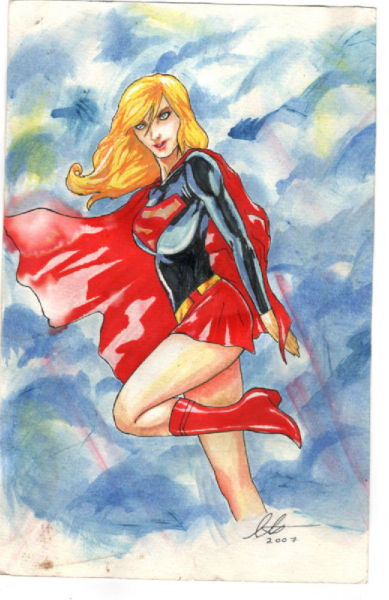 Supergirl rendering:Watercolor-signed