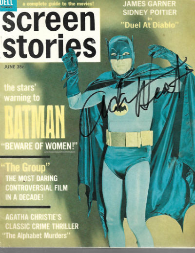 BATMAN ADAM WEST AUTOGRAPHED JUNE 1966 SCREEN STORIES