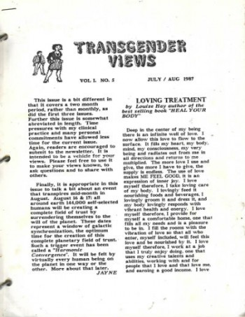 Transgender News Vol.L.No.5Julyaug.1987-June 199011 sporadic issues between these times
