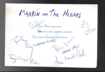 Martine and the Negroes :Thank you card ,signed by all the performers.