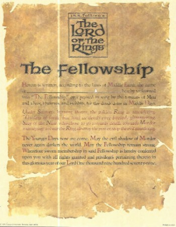 J.R.R Tolkien's ,The Lord of the rings,the Fellowship certificate of belonging