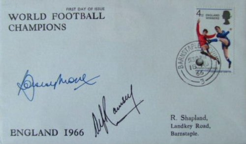 Bobby Moore Alf Ramsey Double Signed First Day Cover