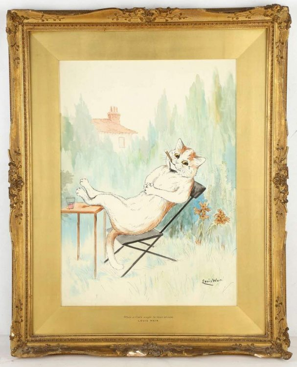 When a Cats single he lives at Ease ORIGINAL LOUIS WAIN PAINTING