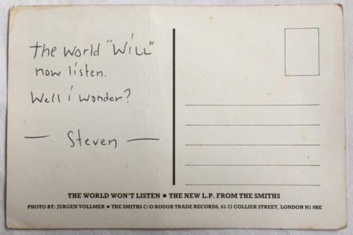 The World Wont Listen INSCRIBED MORRISSEY SIGNED PROMO POSTCARD