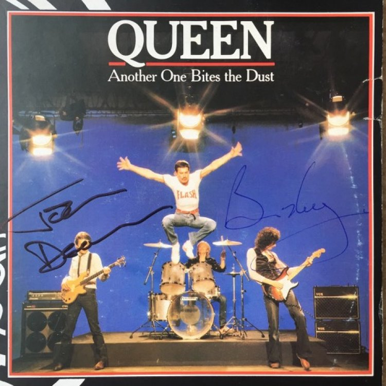 Another One Bites The Dust DOUBLE SIGNED vinyl 1234
