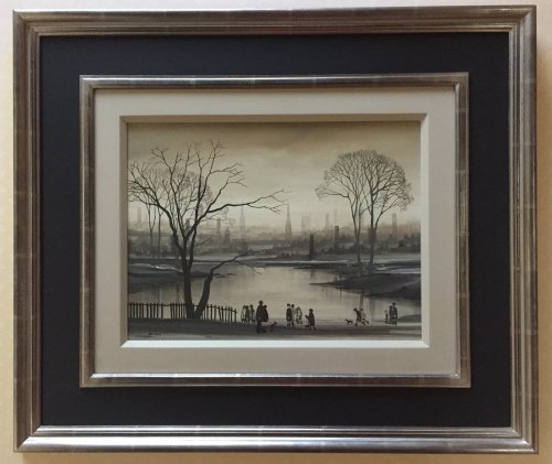 Northern City Scape Lake Scene in Winter ORIGINAL BRAAQ PAINTING
